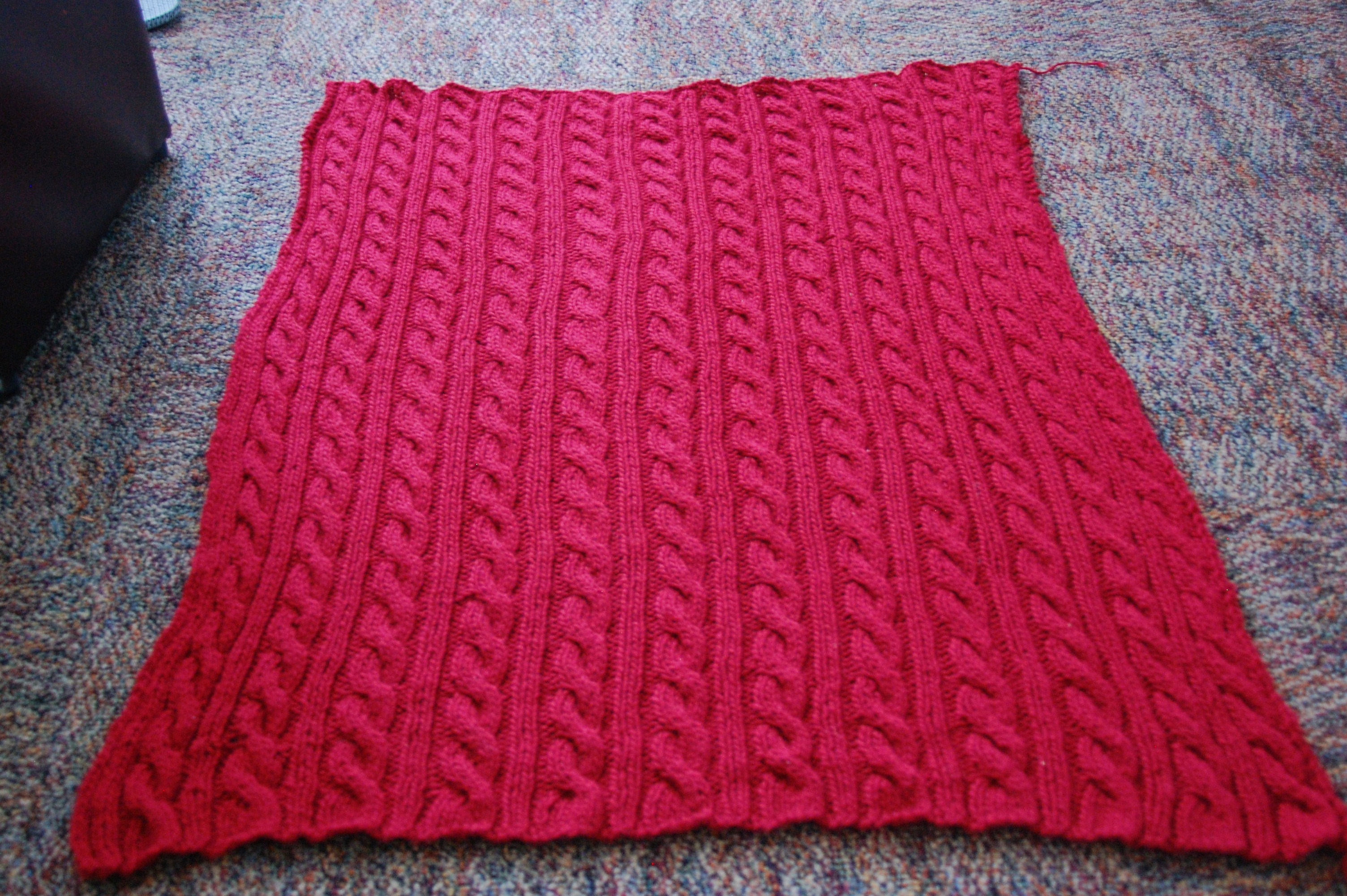 Red Cable Blanket Knittybutton