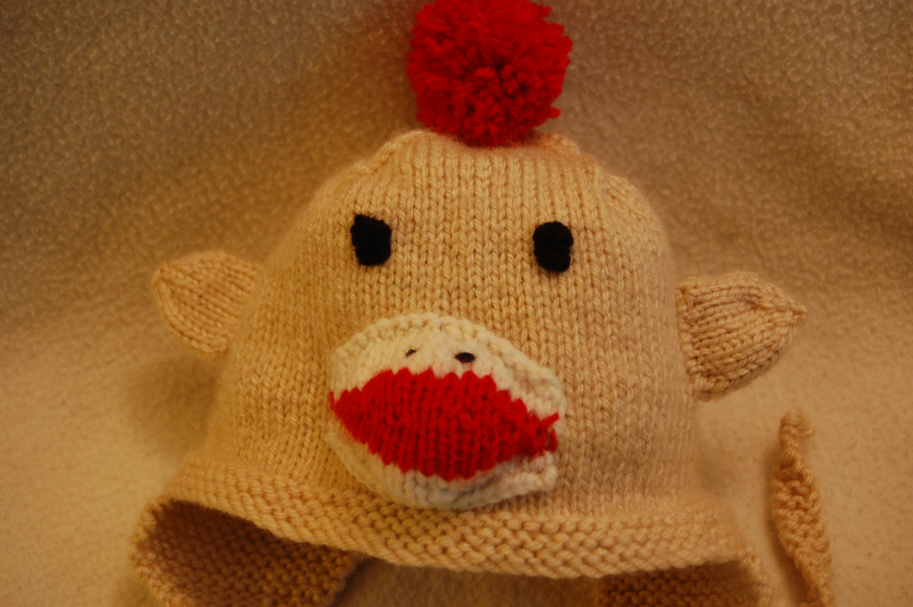 Tan Sock Monkey Hat! | Knittybutton