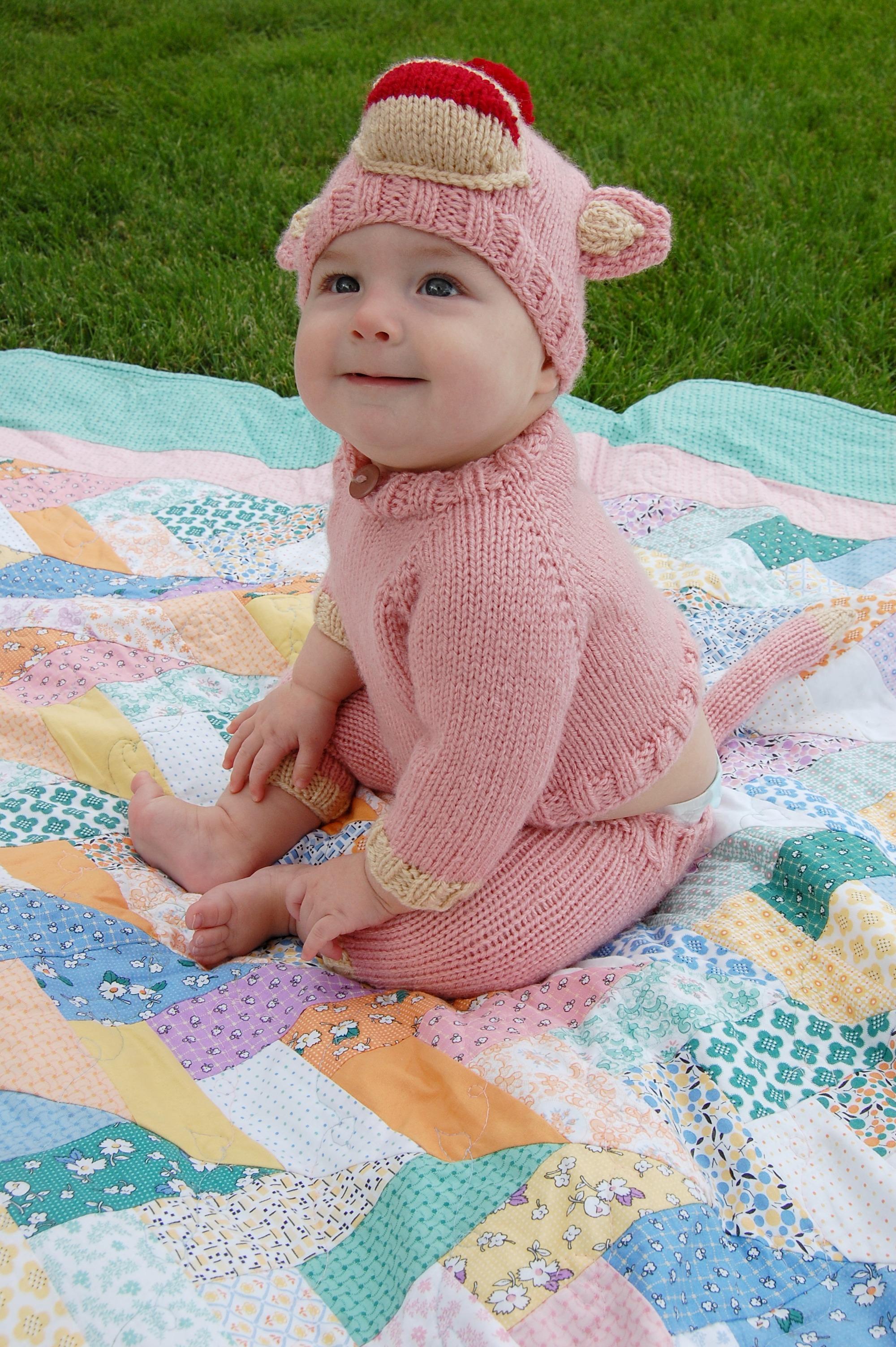 Pink Sock Monkey Knittybutton